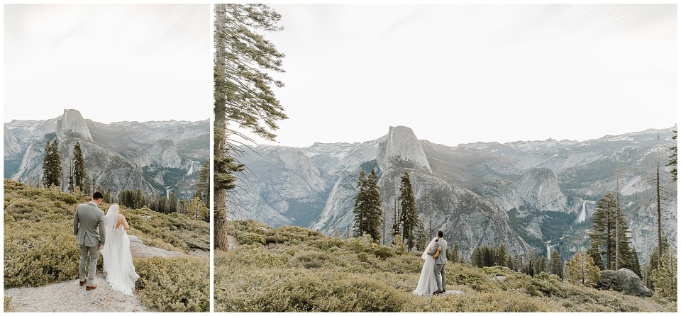bride and groom hiking in yosemite