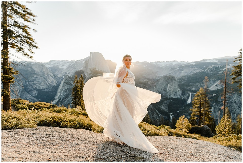 bride dancing in yosemite national park