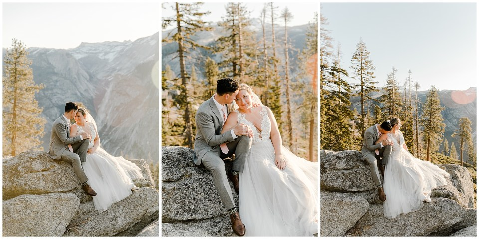 bride and groom sitting on rock in yosemite national park