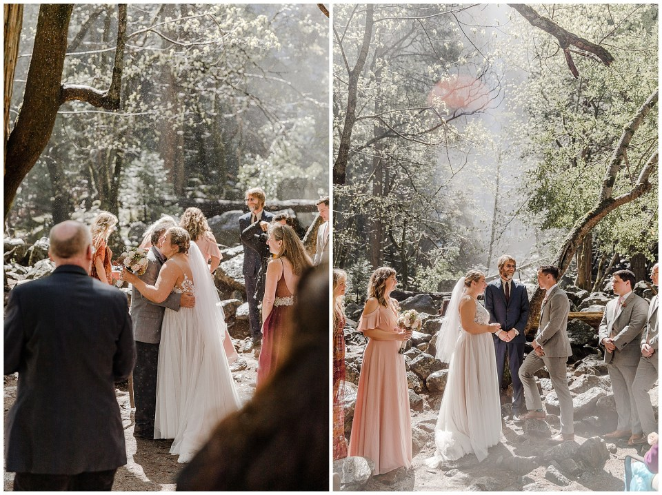 bride and groom saying their vows at bridal veil falls in yosemite
