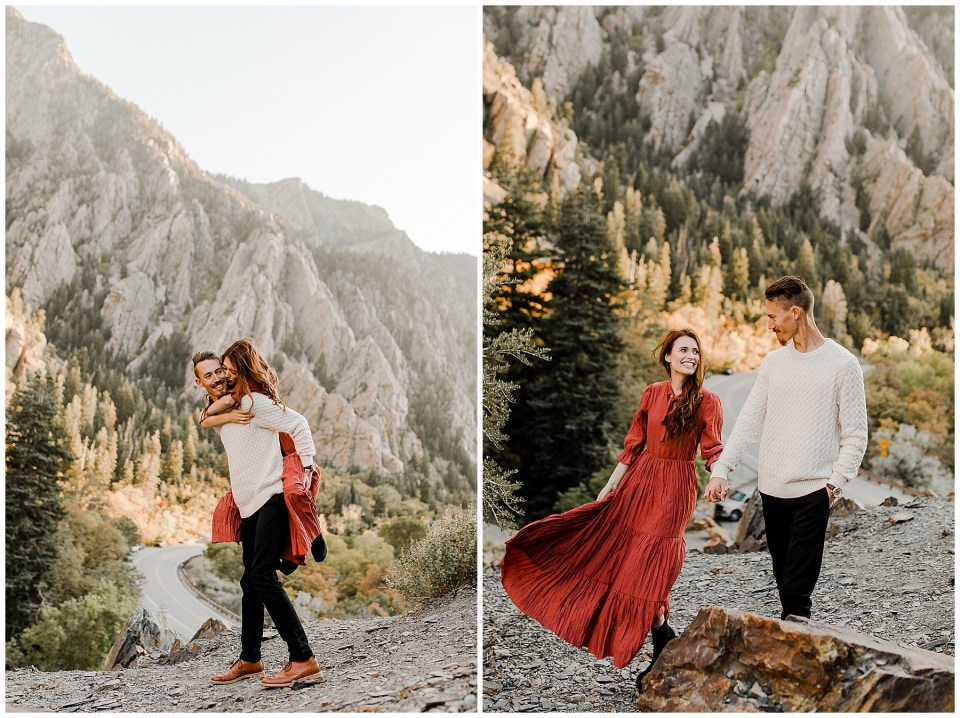Man and woman do a piggy back ride in the mountains during their Big Cottonwood Canyon Engagement Session