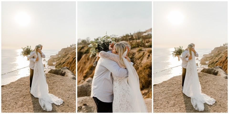 bride and father first look at el matador beach