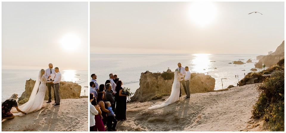 bride and groom have their elopement ceremony at el matador beach in malibu, California