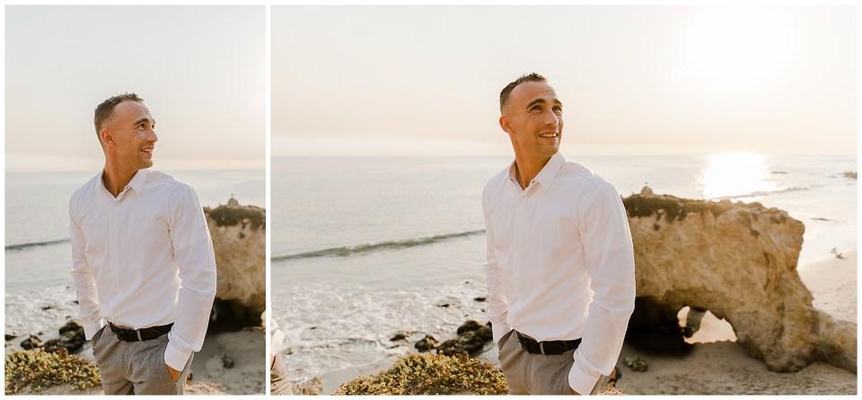 groom watches his bride walk down the aisle at el matador beach