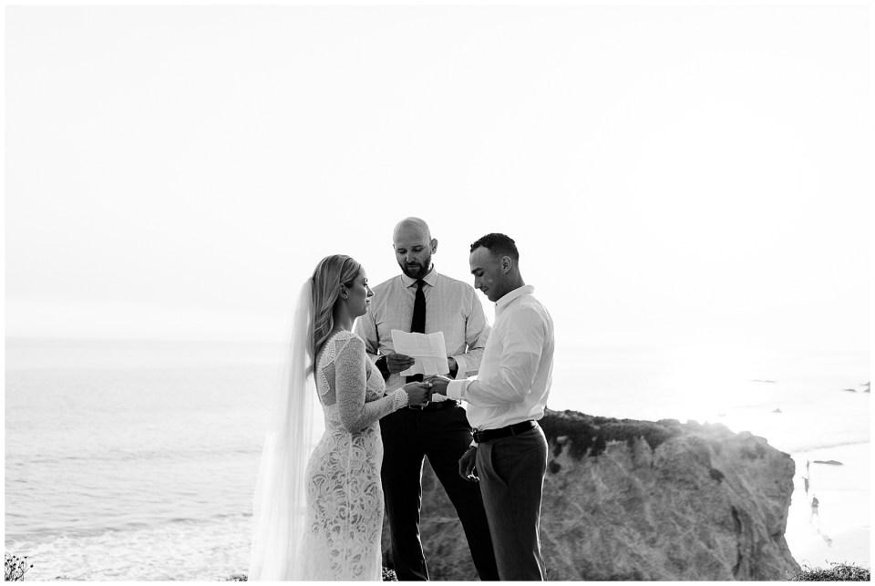 bride and groom have their elopement at el matador beach