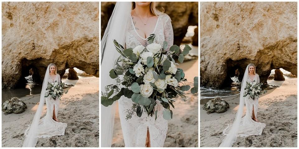 bride at el matador beach during her elopement