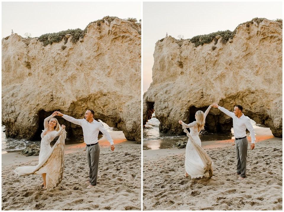 bride and groom dancing on the beach at el matador