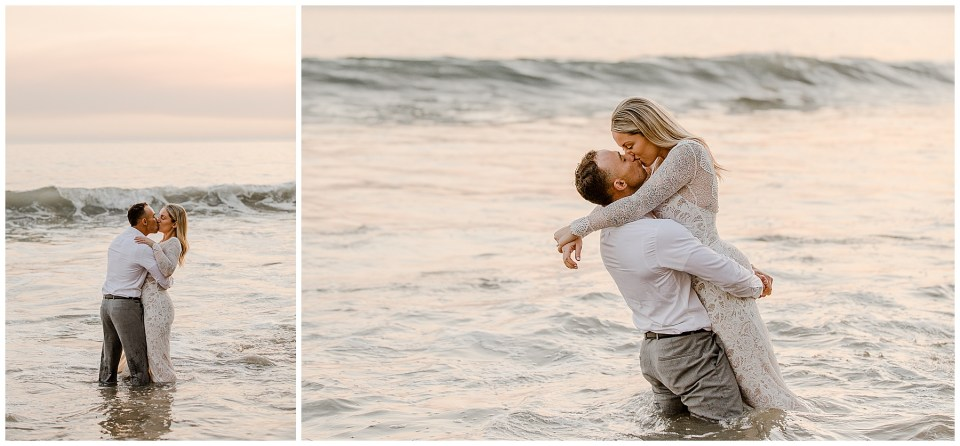 bride and groom jump in the ocean during their elopement at el matador beach