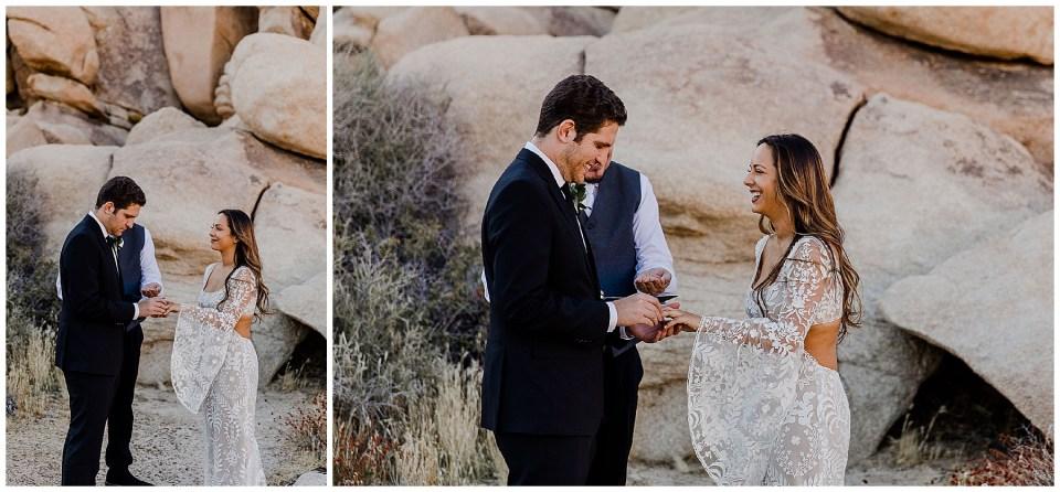 bride and groom exchange rings in joshua tree national park