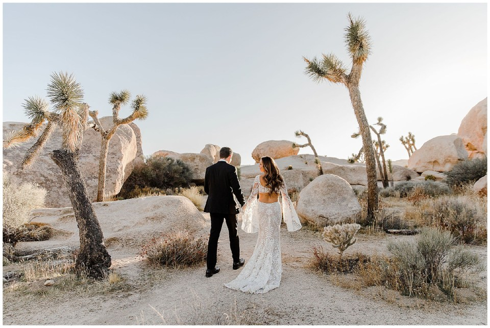 bride and groom in the desert of california