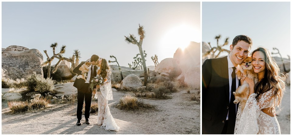bride and groom walk into sunset during a stunning joshua tree elopement