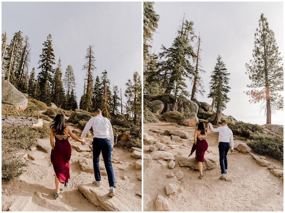 bride and groom take taft point engagement photos
