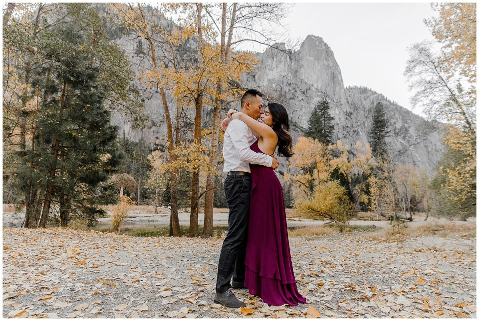 bride and groom enjoying their adventurous yosemite engagement session