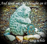 Toad thinking a goodlongwhile