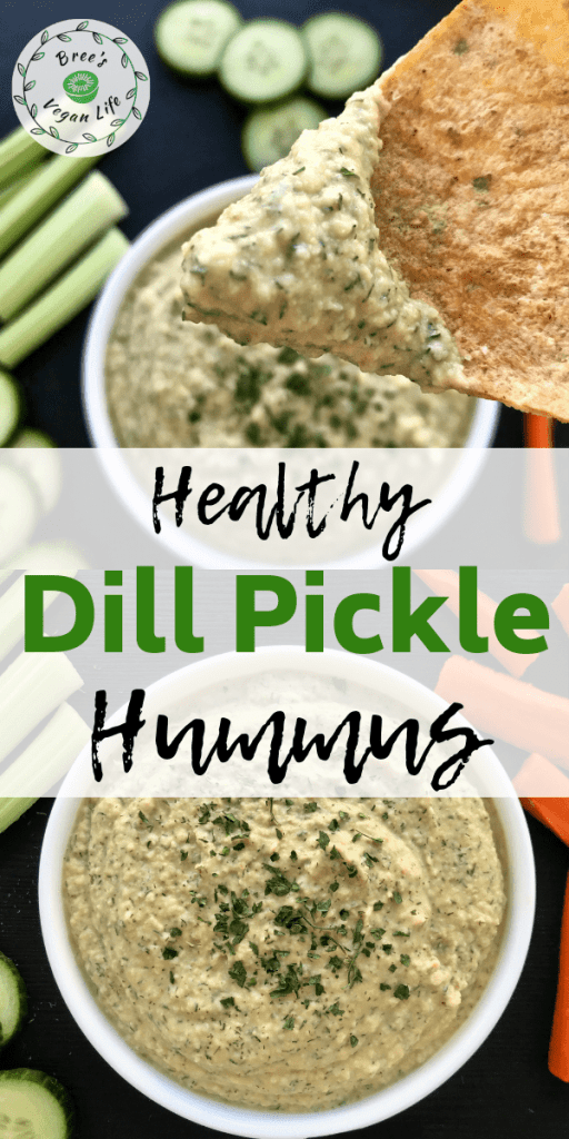 Pinterest pin for healthy dill pickle hummus.