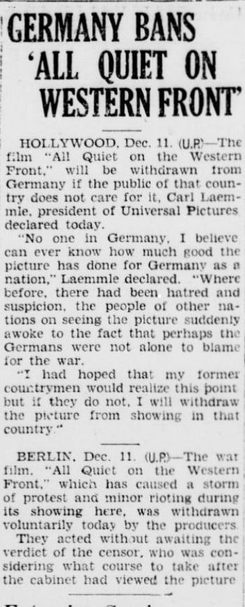 Germany Bans All Quiet on Western Front, 1930, Imperial Valley Press