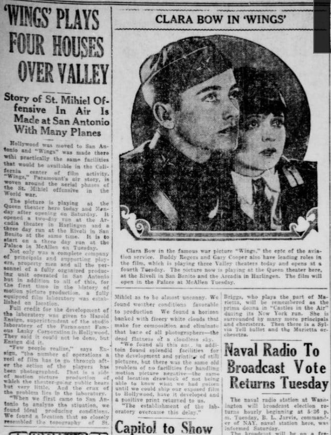 Newspaper Article about Wings movie filmed in San Antonio