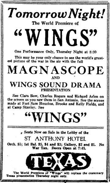 Wings Premier Ad, St. Anthony Hotel, San Antonio, TX
