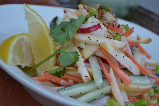 Julienned Carrot Apple Salad with Creamy Poppyseed Dressing