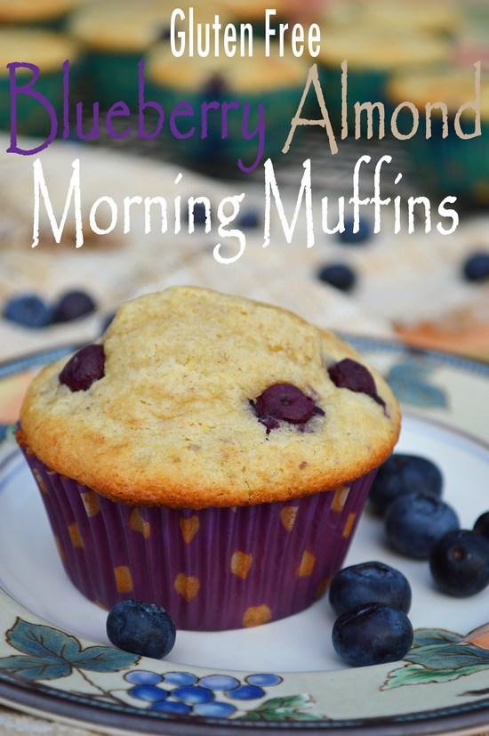 Gluten free blueberry almond muffins sweetened with a mixture of brown and granulated sugar. Perfect for your morning wake up call.
