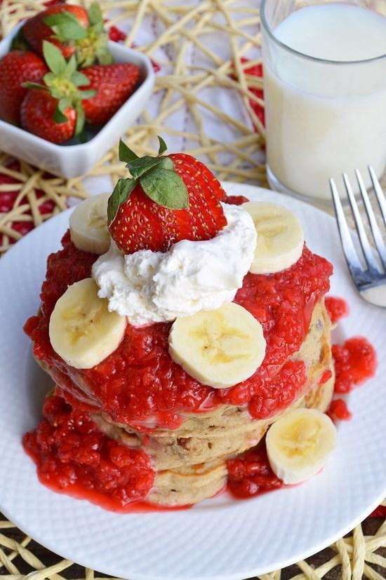 Sweet and beautiful gluten free strawberry banana pancakes with a fresh strawberry puree.