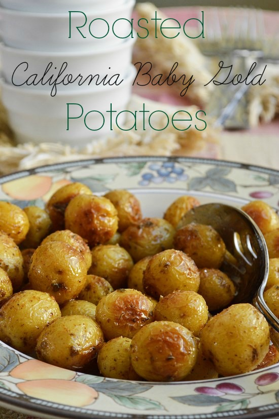 Roasted California baby gold potatoes drizzled with avocado oil and seasoned with salt, pepper, and a variety of spices. Soft on the inside with a slightly crisp skin.