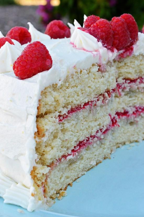 gluten free vanilla cake with raspberry filling and lemon buttercream