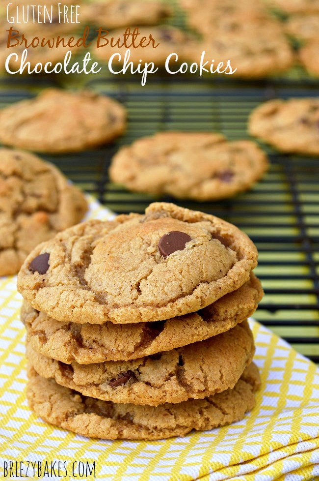 Soft and chewy Gluten Free Browned Butter Chocolate Chip Cookies made with browned butter and a mixture of dark and milk chocolate chips.