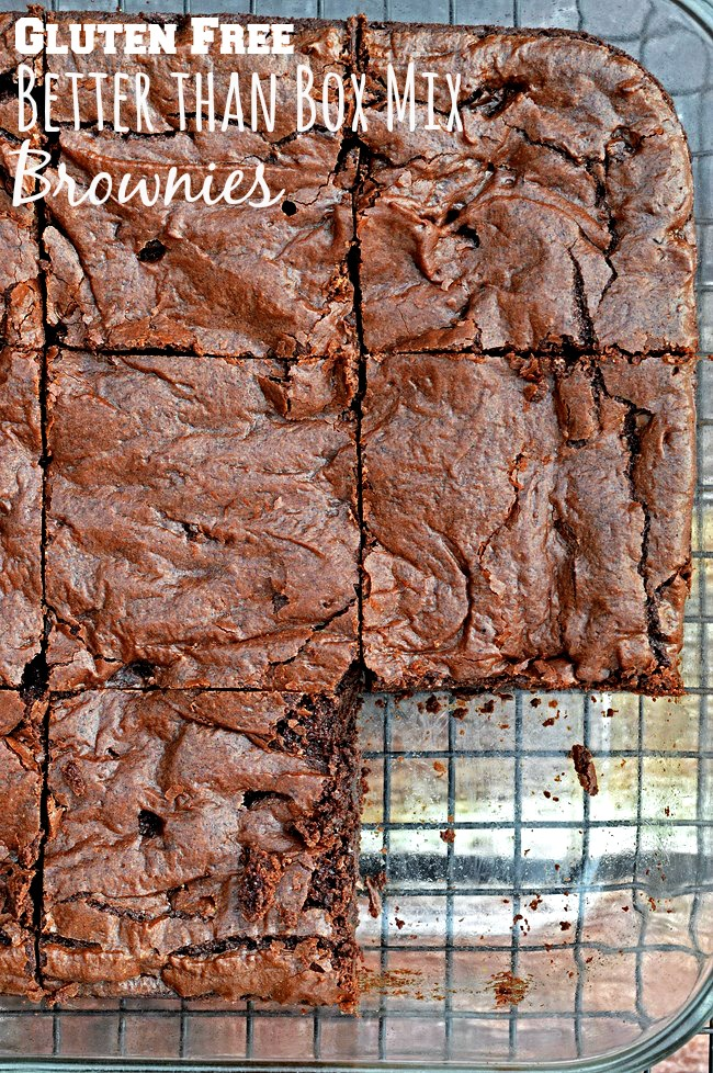 A gluten free copycat version of the delicious Ghirardelli box mix brownies. Thick, chewy, fudgy, and full of chocolate.