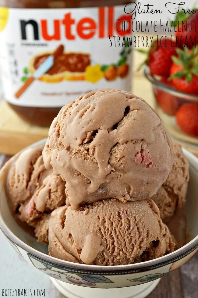 gluten free chocolate hazelnut strawberry ice cream