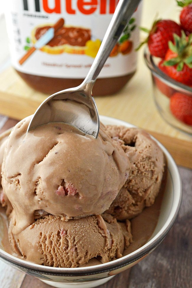 homemade gluten free chocolate hazelnut strawberry ice cream