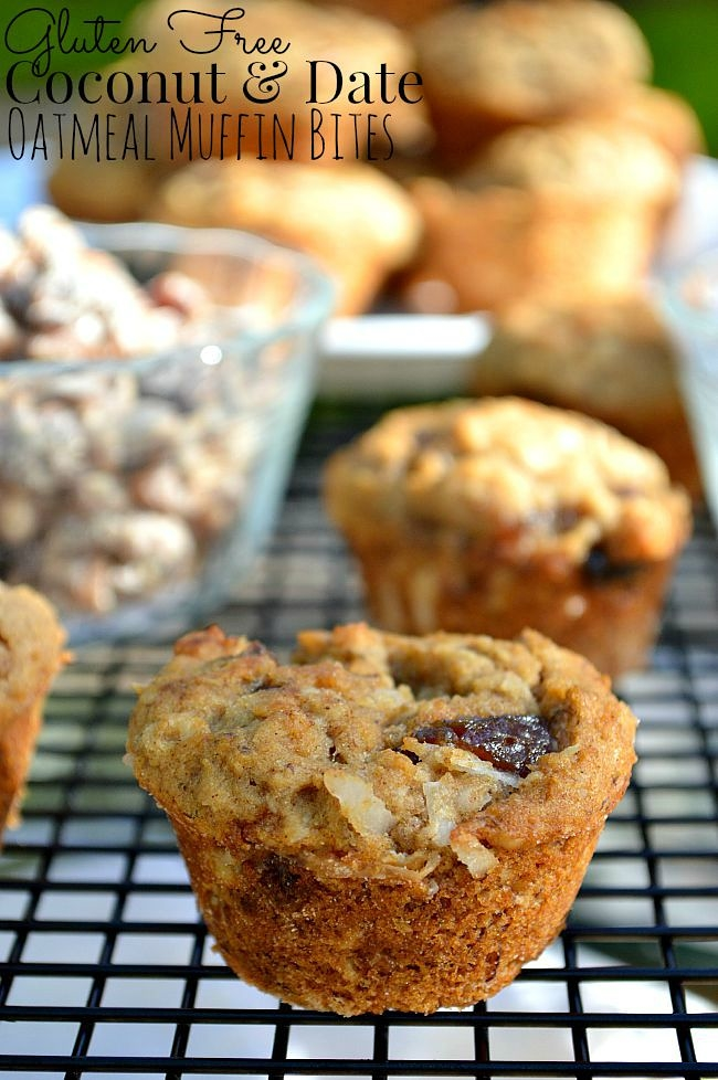 These Gluten Free Oatmeal Date Coconut Muffin Bites are the perfect sweet snack on the go, loaded with pecans, dates, coconut, and old fashioned rolled oats.