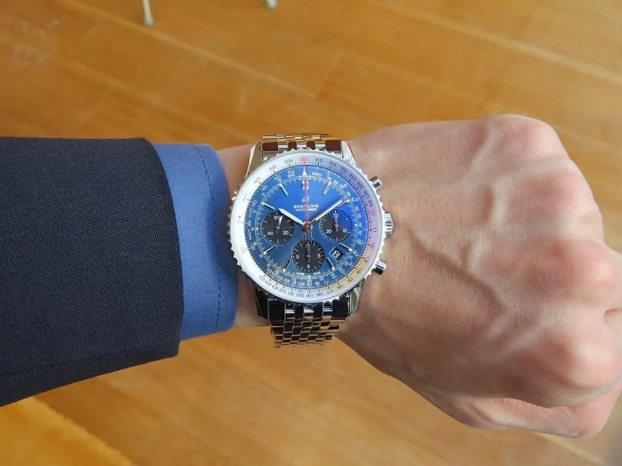 ブルーのダイヤルでオシャレなナビタイマー!!ブライトリング ブティック 大阪に再入荷しました。-ナビタイマー