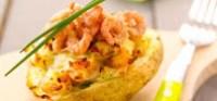 Pommes de terre farcies aux crevettes grises