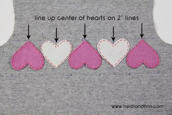 Placer les coeurs le long de la ligne