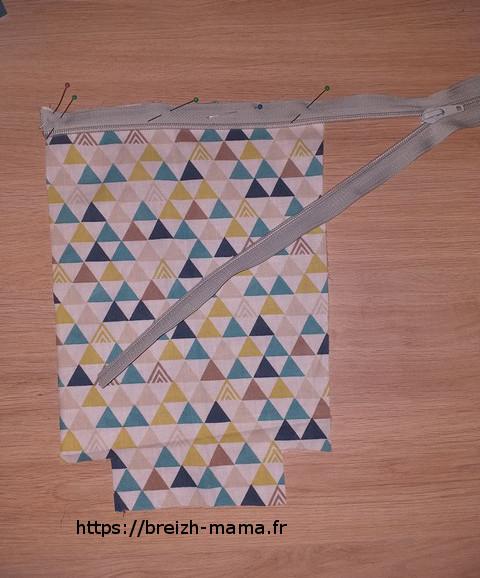 Placer fermure zip envers sur endroit de votre tissu