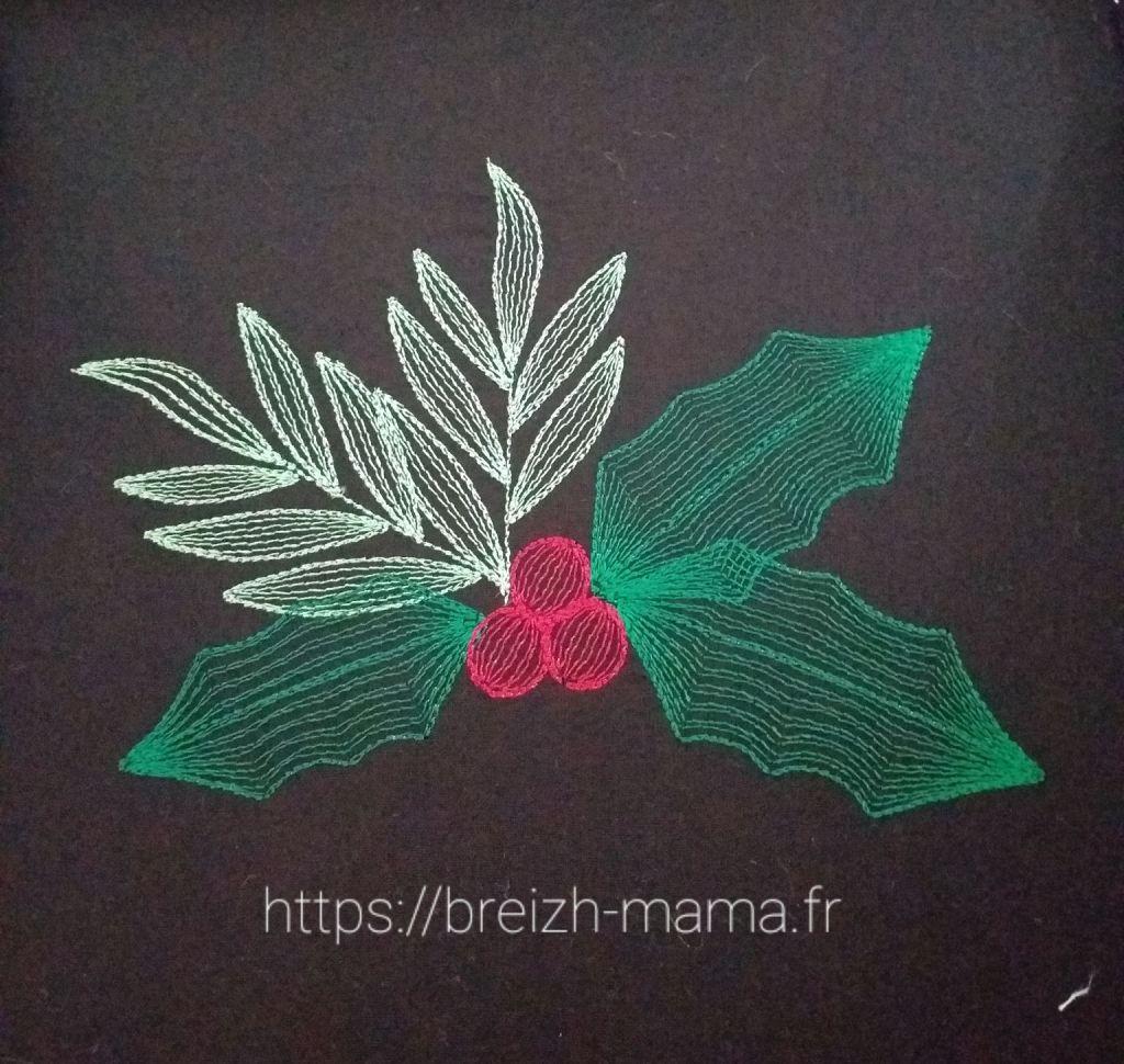 Motif broderie Houx de Noël