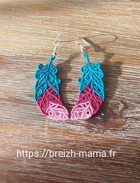 Boucles d oreille Plume FSL tricolore