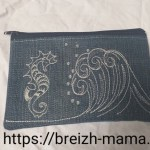 Trousse jeans recyclé brodé vague et hippocampe - recto