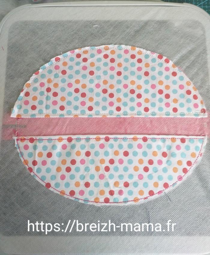 Broder l'ensemble et couper l excedent de tissu