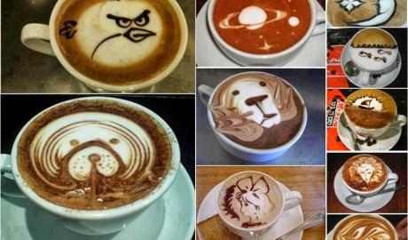 Dessin avec mousse de café