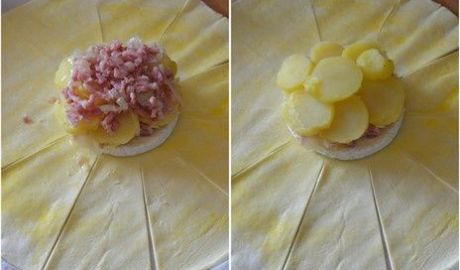 Camembert en croute, lardons et pomme de terre