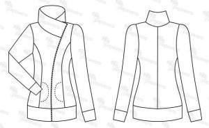 Veste zippée à fermeture décalée