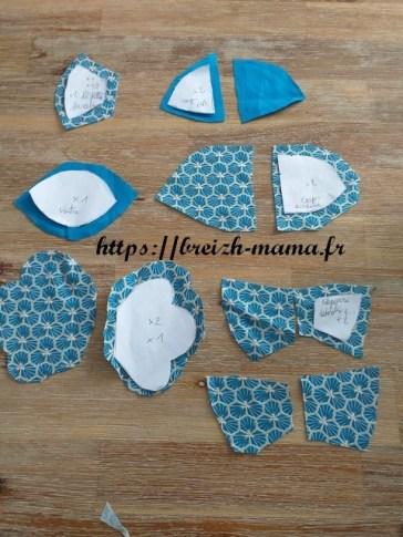 2 - Découper les pièces de tissu