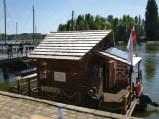 moulin-bateau de la Vistule : il tourne aussi en Loire bien que le courant soit faible