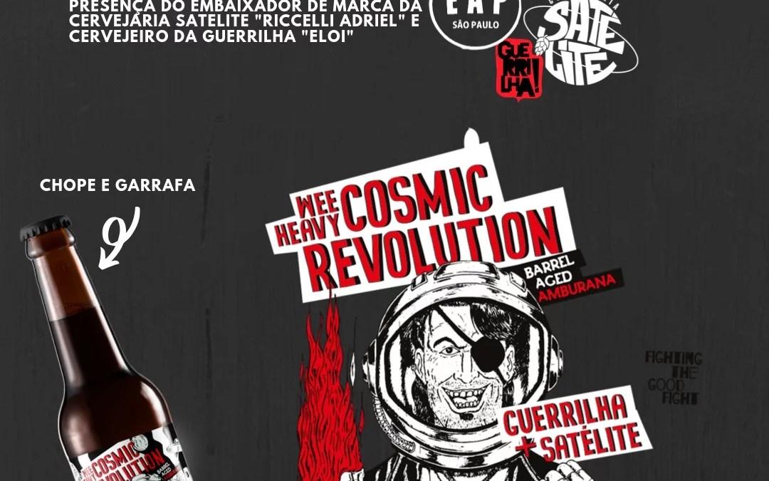 """Cervejaria Satélite e """"Guerrilha!"""" lançam Cosmic Revolution, uma Wee Heavy maturada em amburana."""