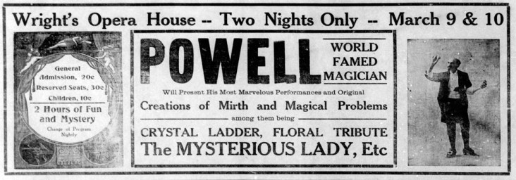 Wright's Opera House magician - Enquirer - Mar_4__1915_