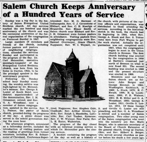 Salem Church 100th anniversary - 1947