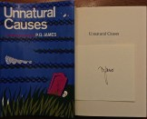 Unnatural Causes PD James DJ Signed Card on Title Page
