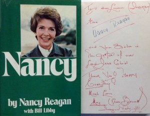 Nancy Reagan SIgnature with additional inscription